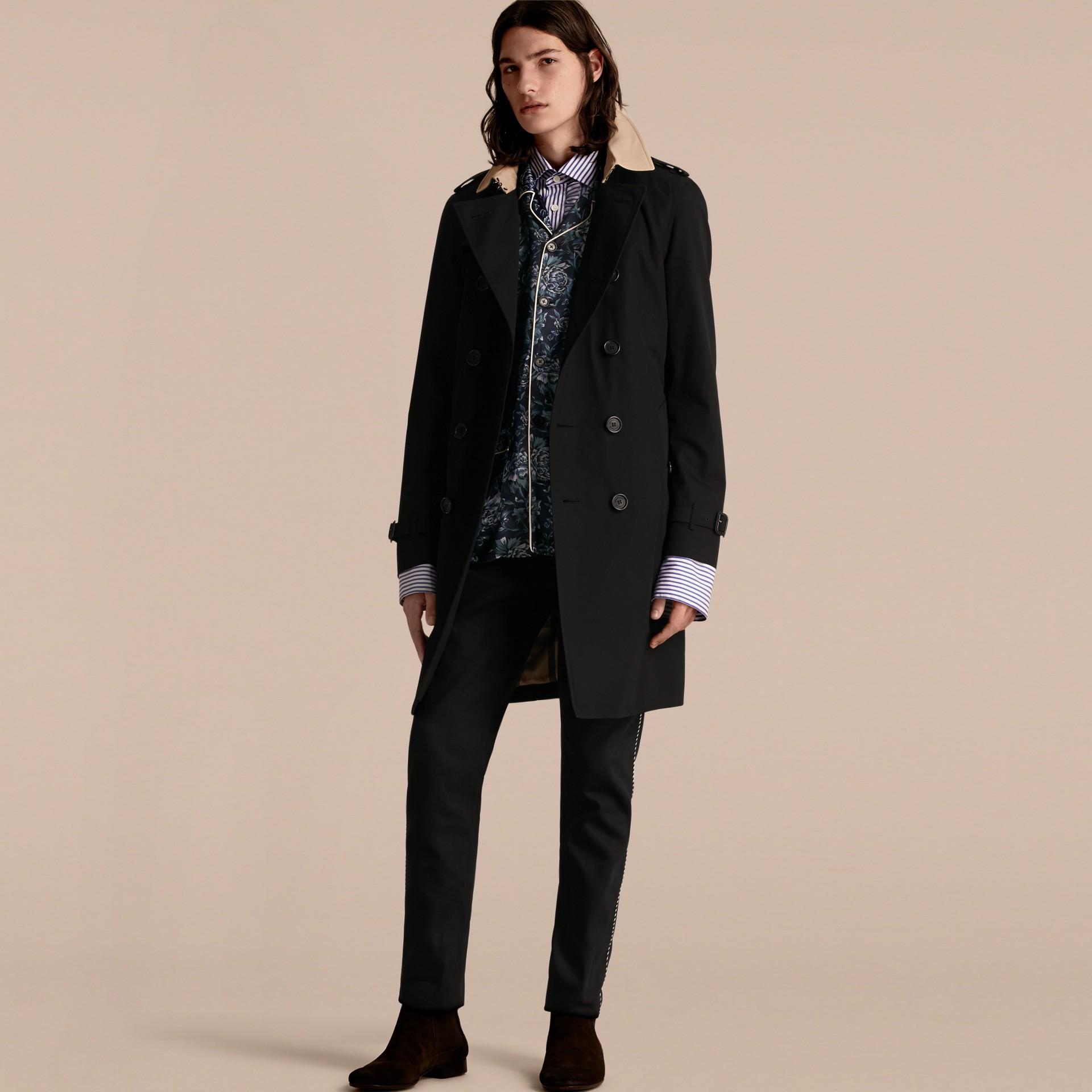 Black Contrast-collar Cotton Gabardine Trench Coat - gallery image 1