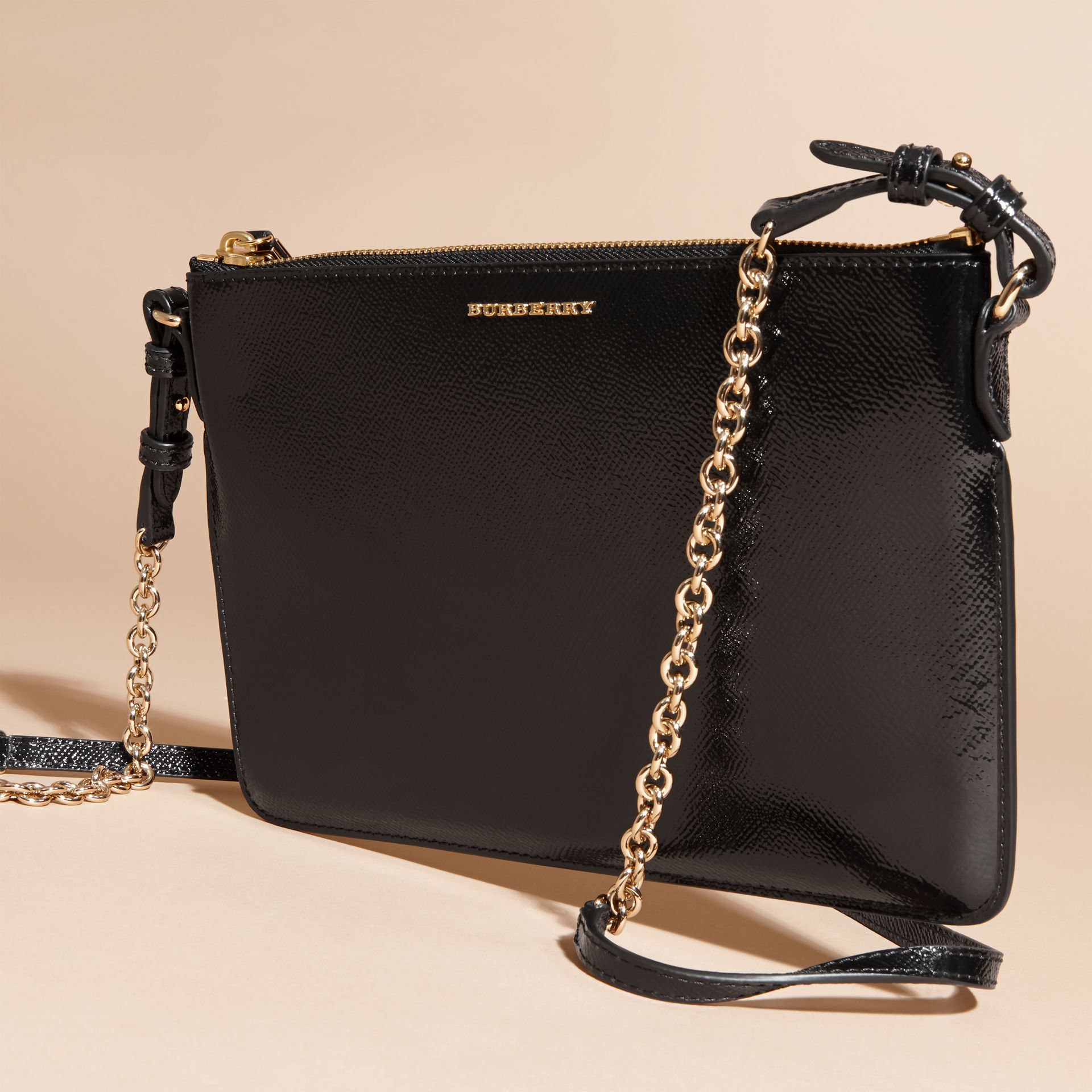 Patent London Leather Clutch Bag in Black - gallery image 8