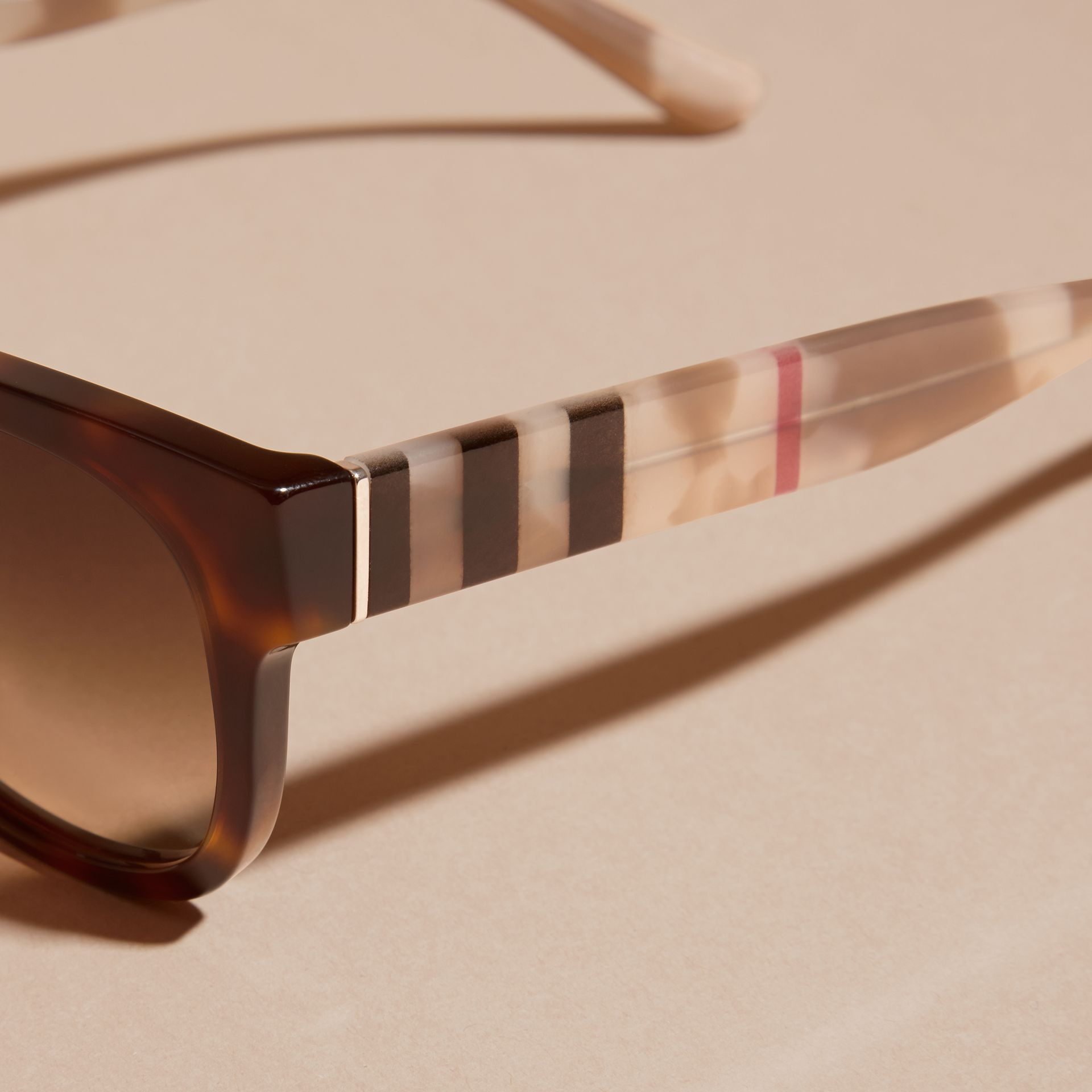 Check and Camouflage Detail Square Frame Sunglasses Light Russet Brown - gallery image 2