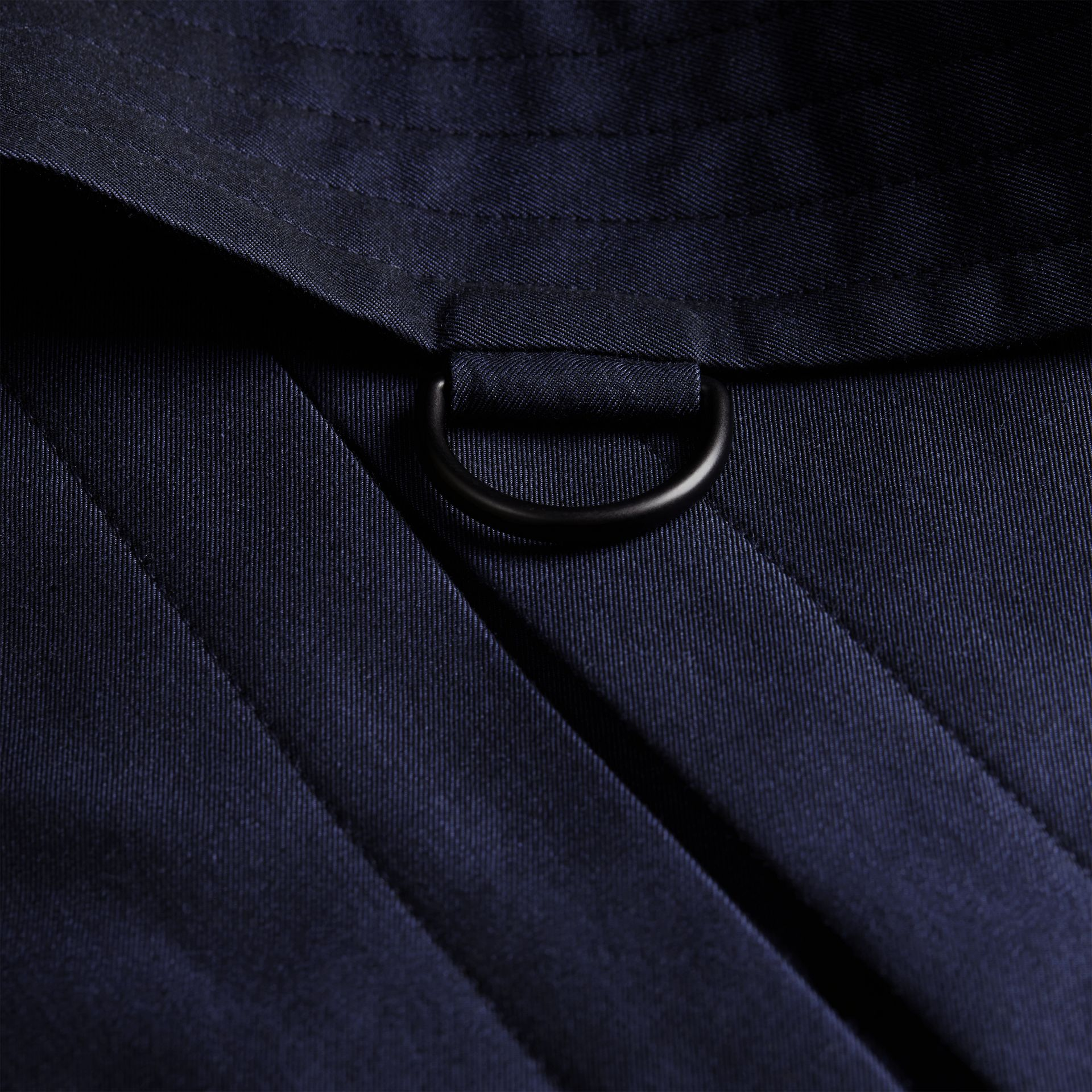 Flint blue Leather Detail Cotton Gabardine Trench Coat - gallery image 2