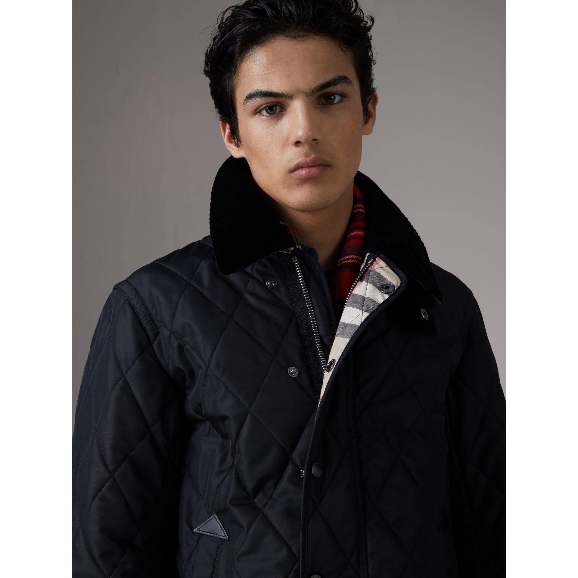 Detachable Hood Diamond Quilted Jacket in Navy - Men | Burberry - gallery image 4