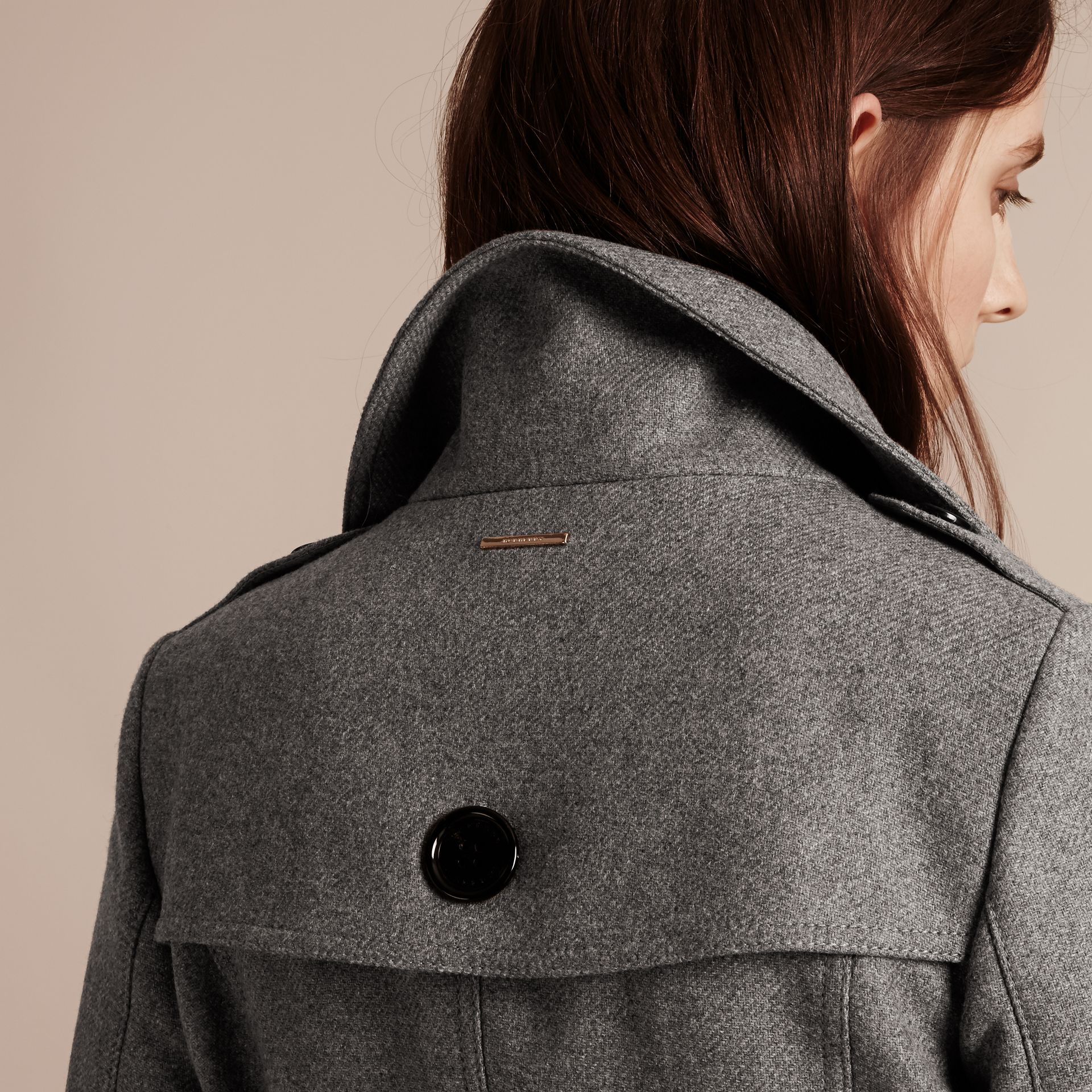 Technical Wool Cashmere Funnel Neck Coat in Steel Grey Melange - gallery image 5
