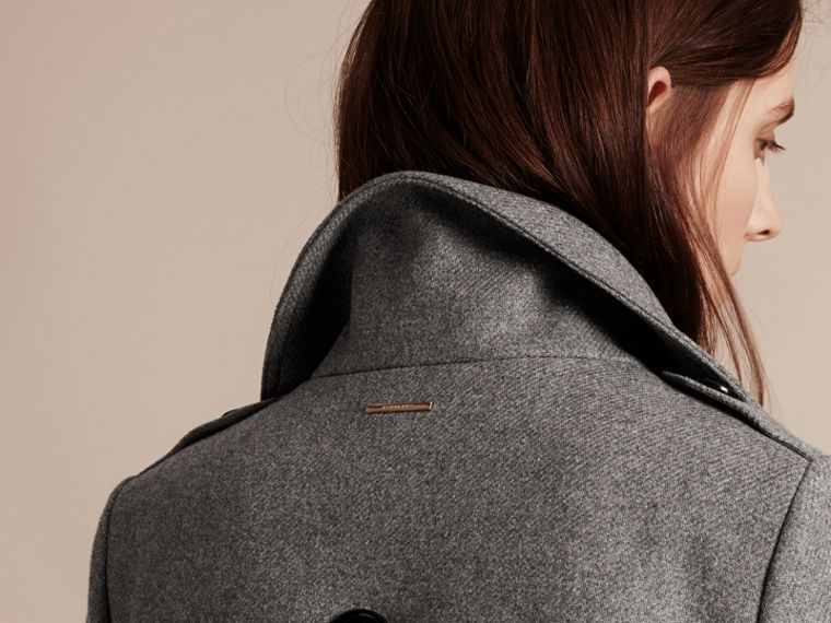 Technical Wool Cashmere Funnel Neck Coat in Steel Grey Melange - Women | Burberry - cell image 4