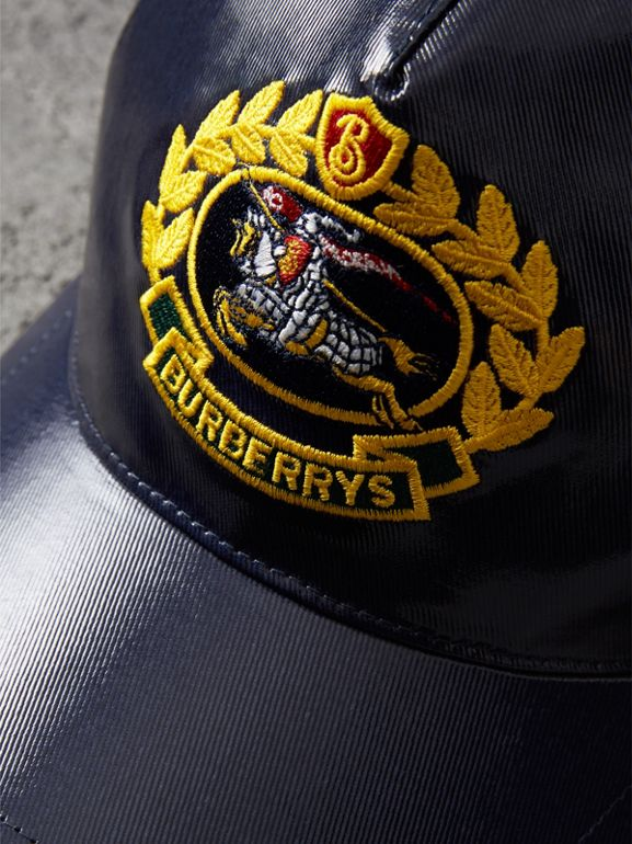 Archive Logo Coated Cotton Baseball Cap in Navy | Burberry - cell image 1