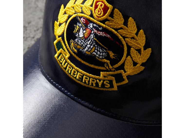 Archive Logo Coated Cotton Baseball Cap in Navy | Burberry Hong Kong - cell image 1