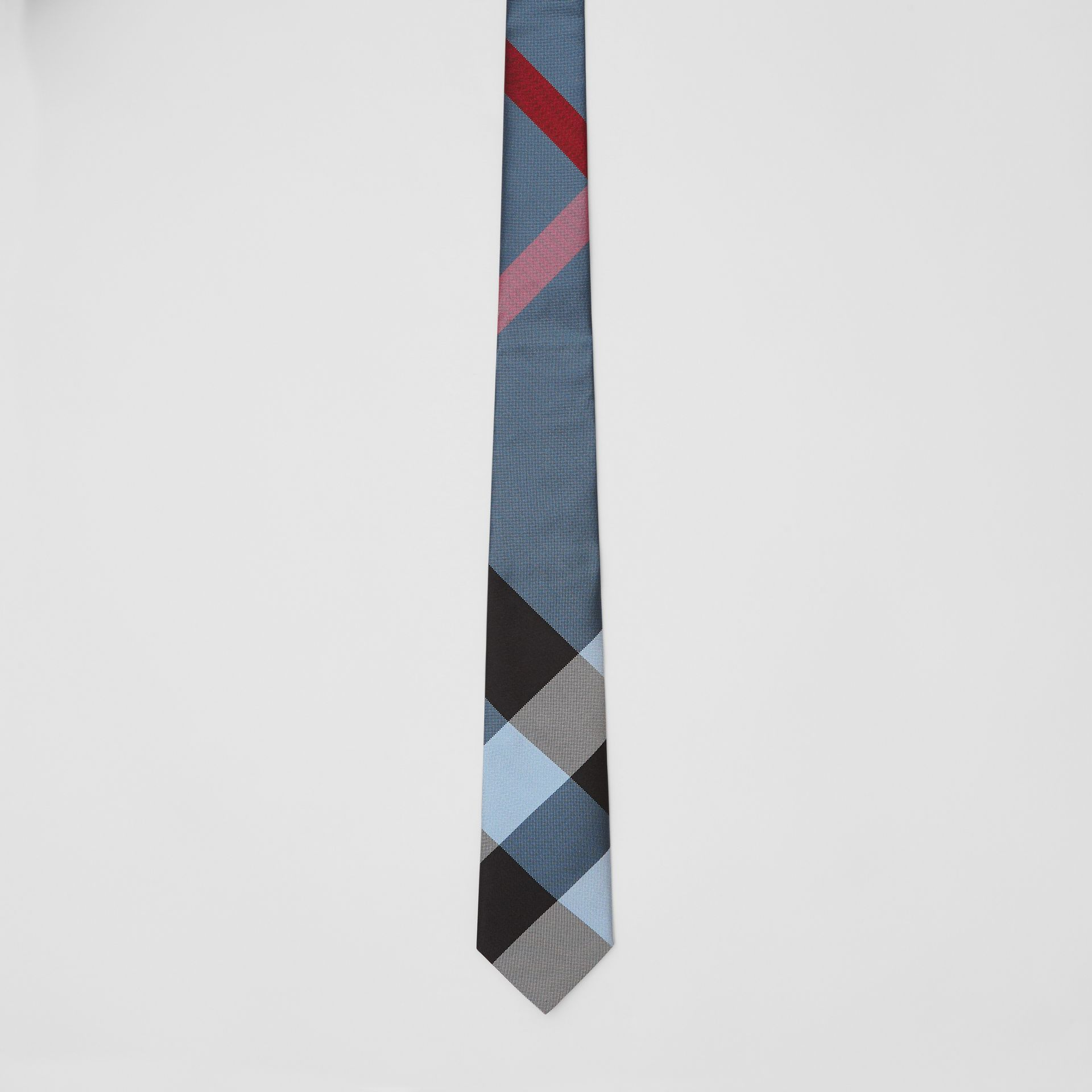 Modern Cut Oversized Check Silk Tie in Pale Blue - Men | Burberry United Kingdom - gallery image 3