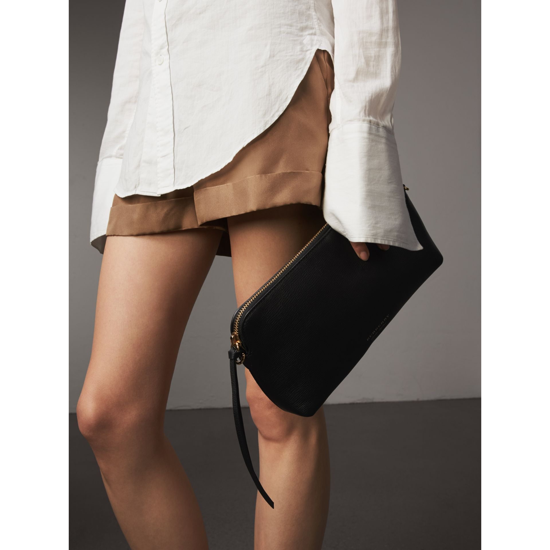 Grainy Leather Clutch Bag in Black - Women | Burberry - gallery image 8
