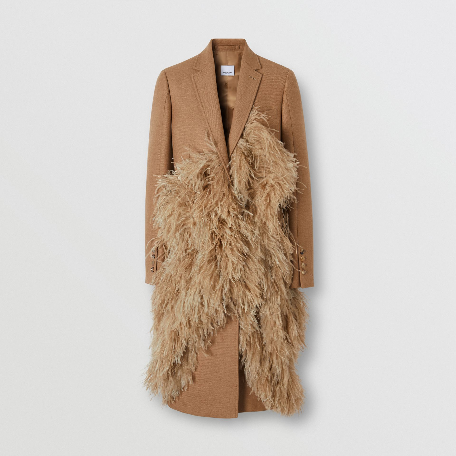 Feather Detail Camel Hair Tailored Coat - Women | Burberry - gallery image 3