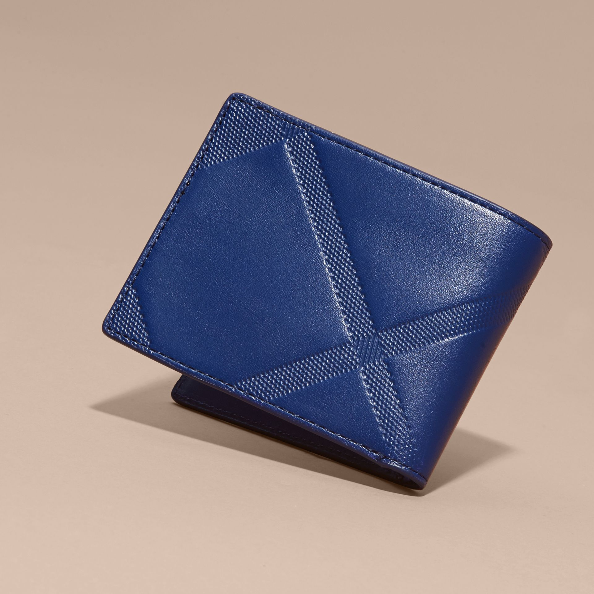 Lapis blue Embossed Check Leather Folding Wallet - gallery image 4