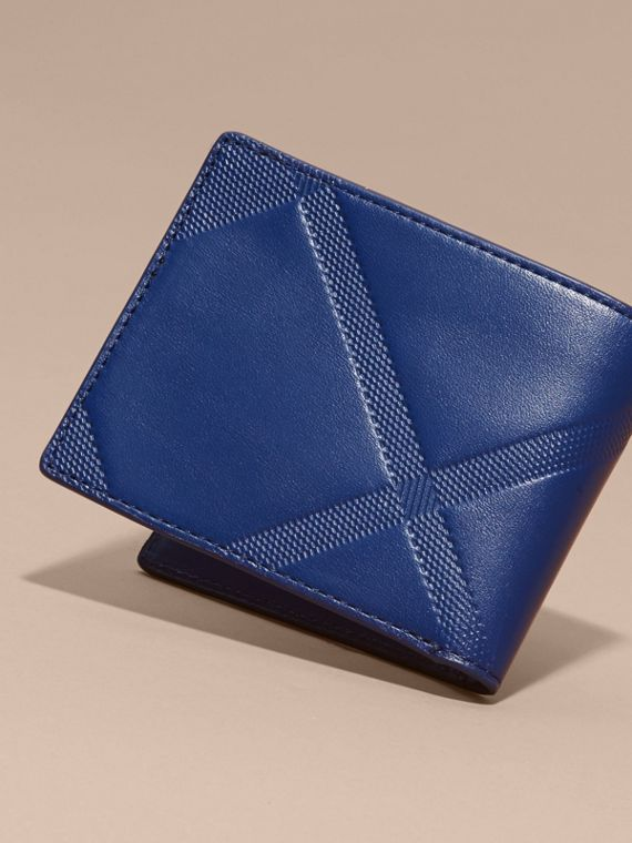 Lapis blue Embossed Check Leather Folding Wallet - cell image 3