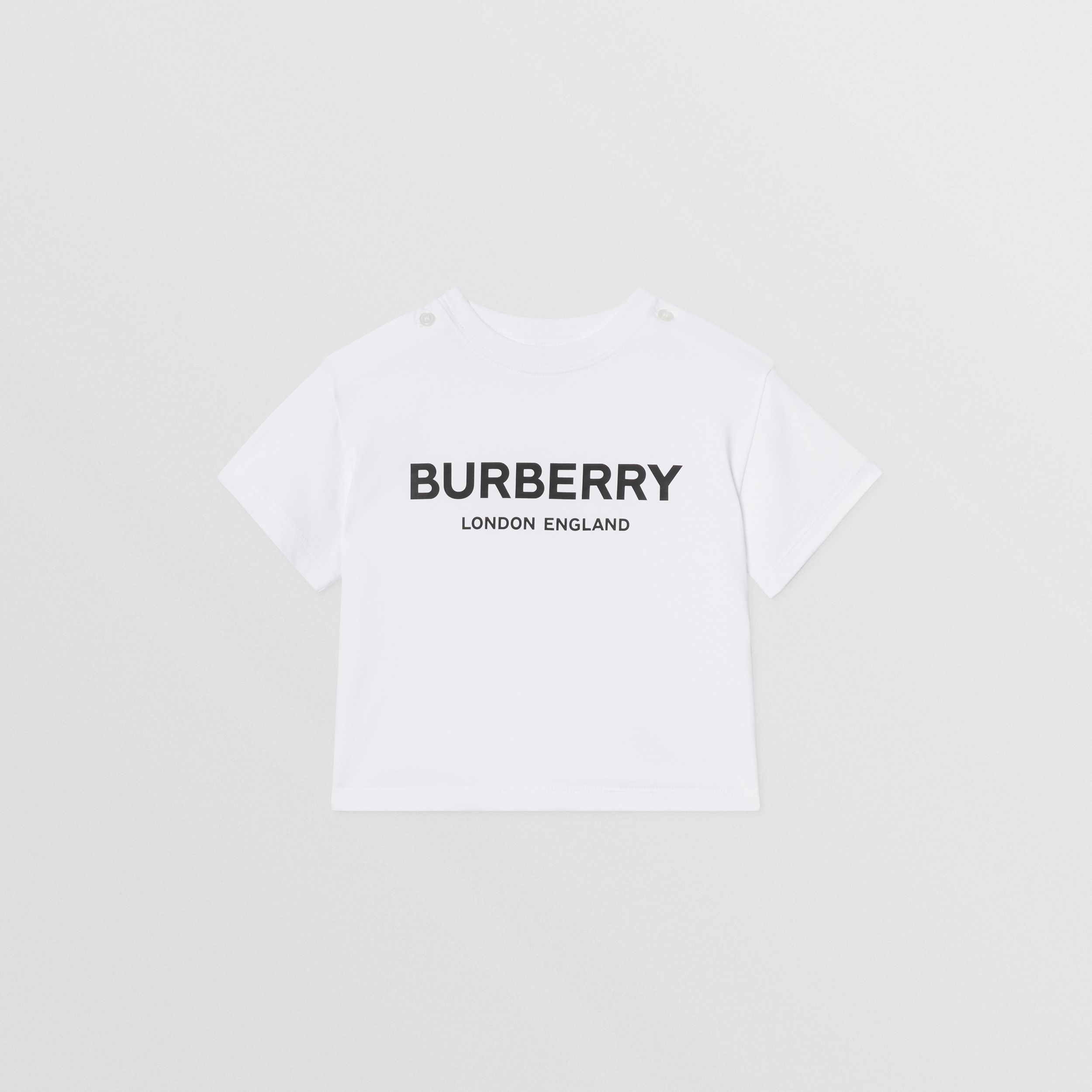 Logo Print Cotton T-shirt in White - Children | Burberry - 1