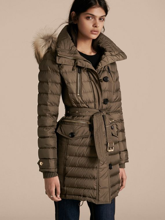 Slim Fit Down-filled Parka with Fur Trim Mink Grey