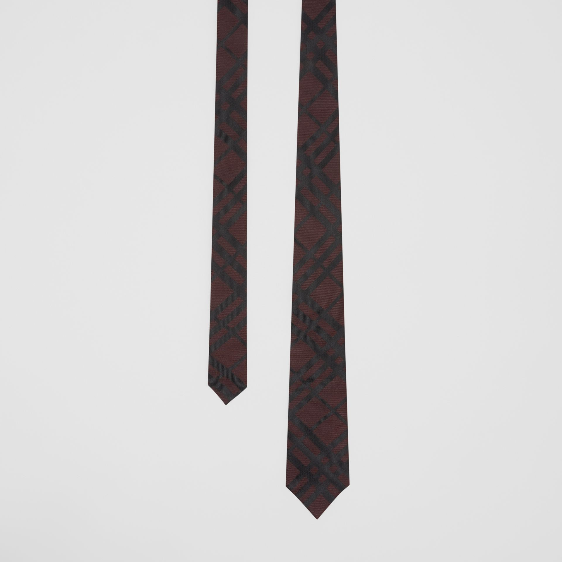 Classic Cut Check Silk Jacquard Tie in Oxblood - Men | Burberry Singapore - gallery image 0