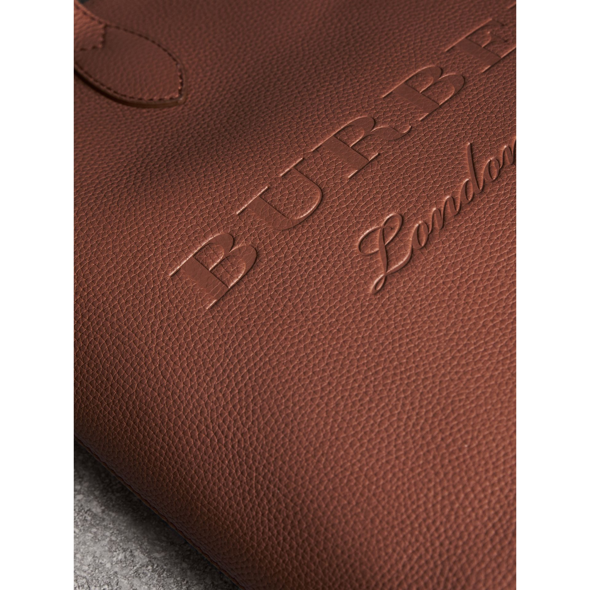Embossed Leather Tote in Chestnut Brown | Burberry Australia - gallery image 1