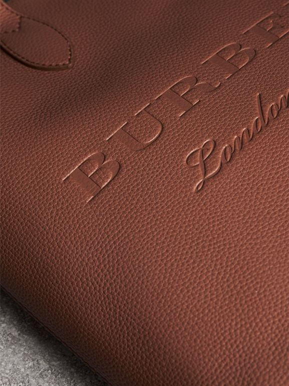 Embossed Leather Tote in Chestnut Brown | Burberry United Kingdom - cell image 1