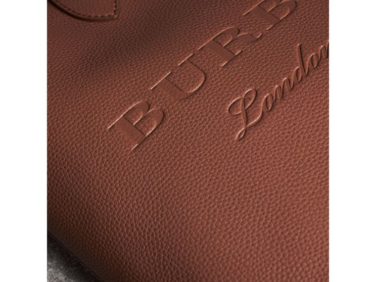 Medium Embossed Leather Tote in Chestnut Brown | Burberry - cell image 1
