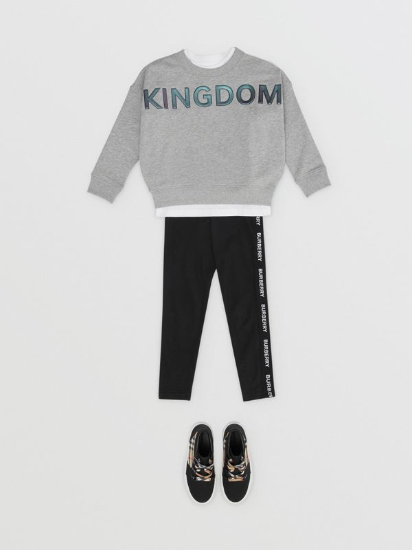 Kingdom Motif Cotton Sweatshirt in Grey Melange | Burberry Singapore - cell image 2