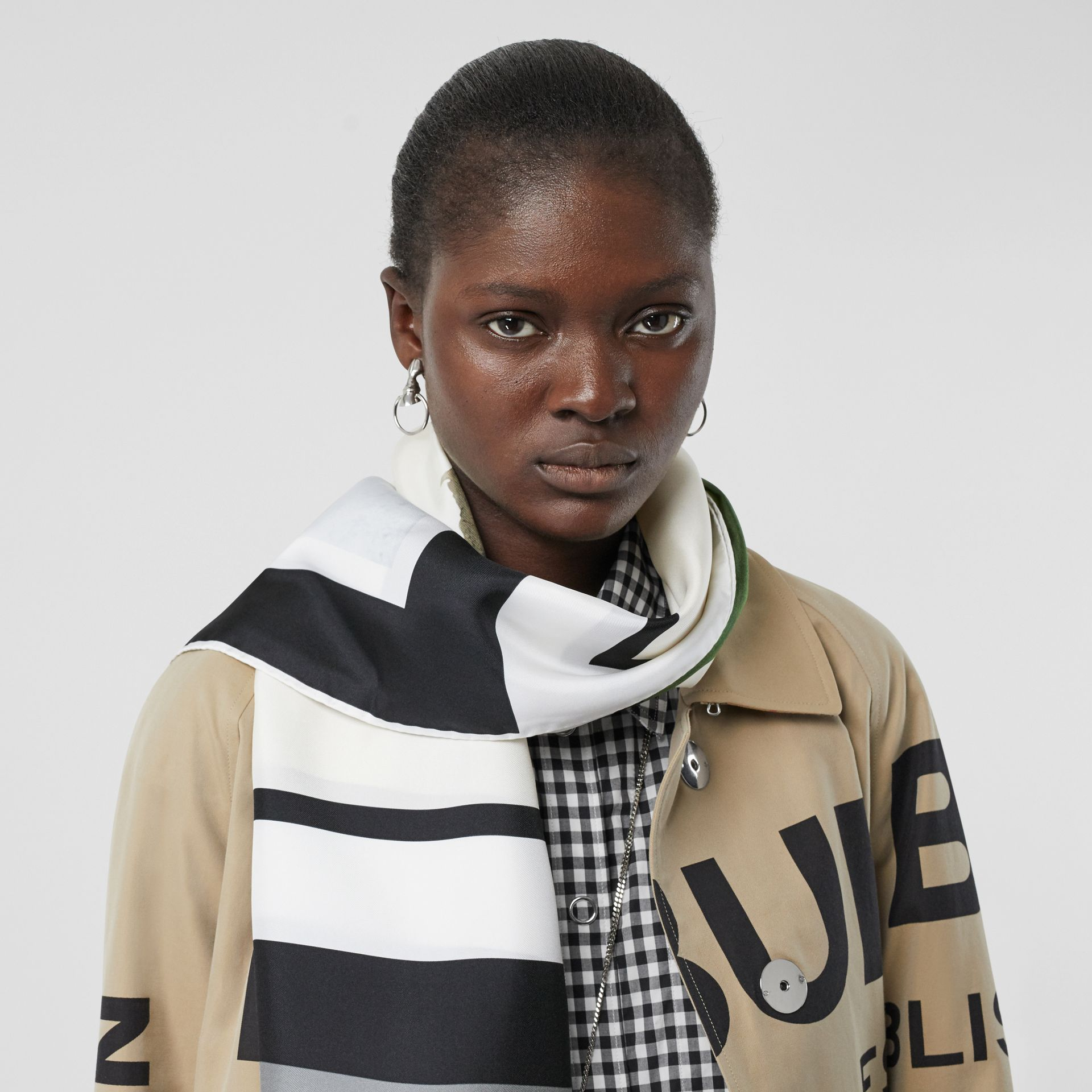 Montage and Logo Print Silk Scarf in Monochrome | Burberry - gallery image 2
