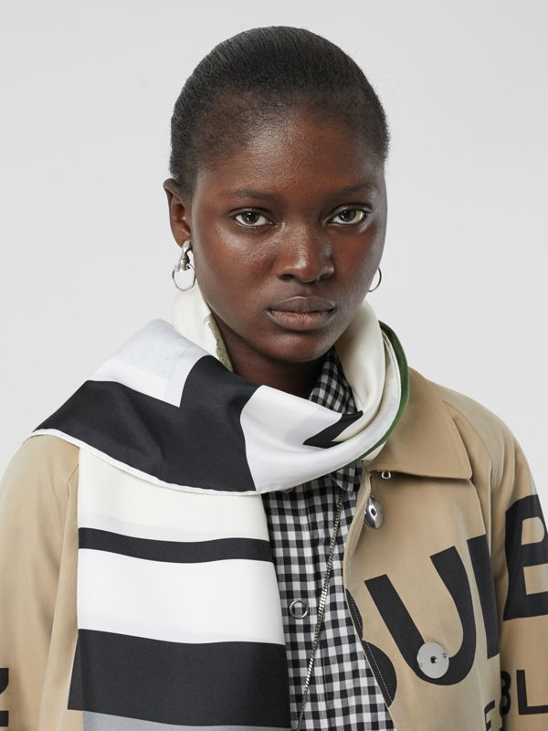 Montage and Logo Print Silk Scarf in Monochrome | Burberry Australia - cell image 2