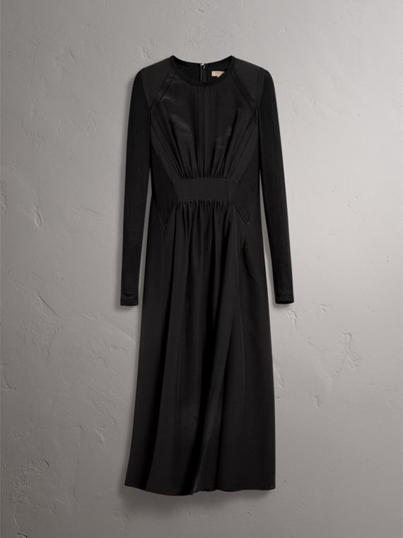 Long-sleeve Silk Gathered Dress in Black - Women | Burberry - cell image 3