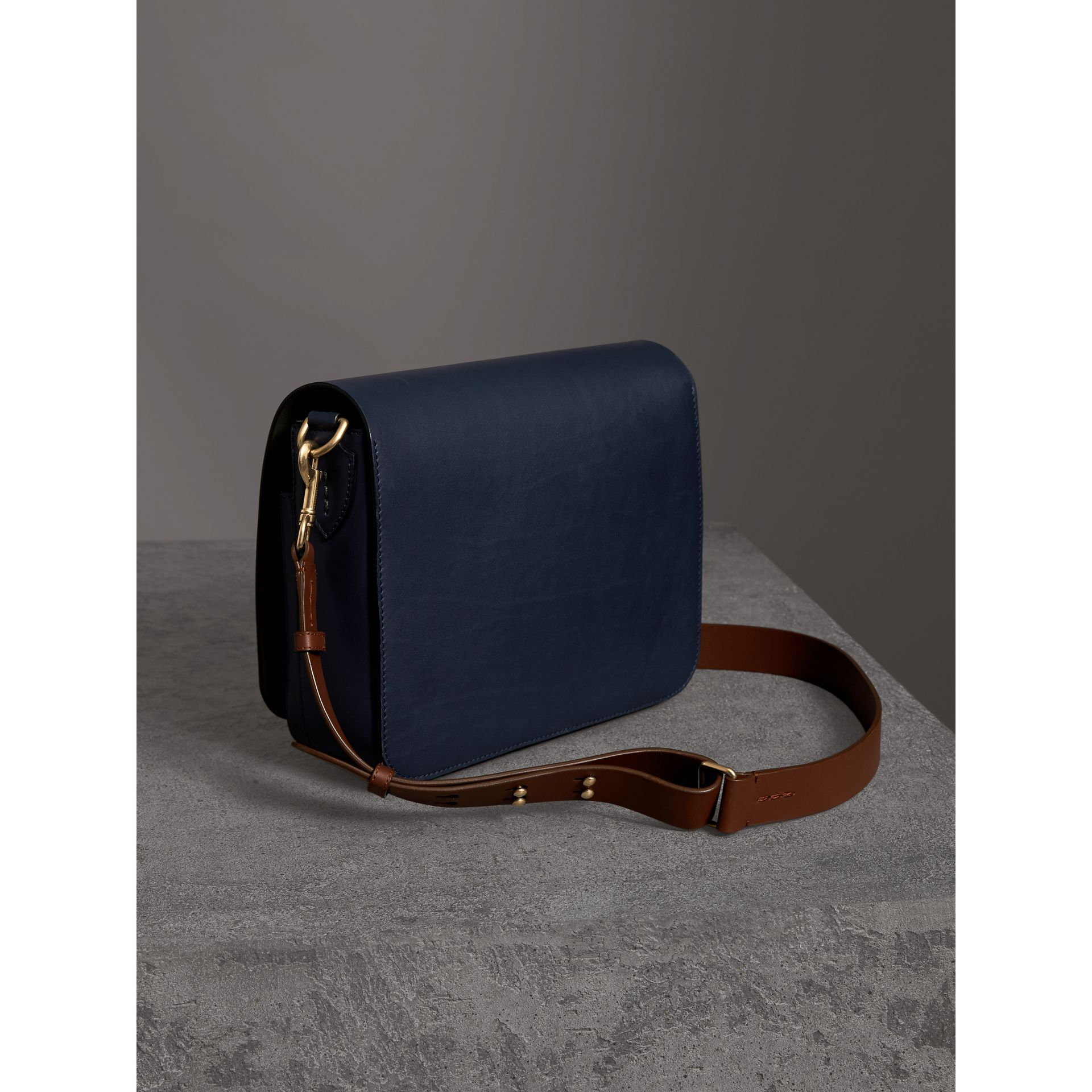 The Large Square Satchel in Leather in Mid Indigo - Women | Burberry United States - gallery image 4