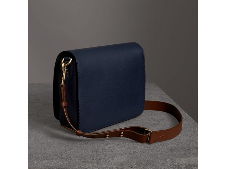 The Large Square Satchel in Leather in Mid Indigo - Women | Burberry United States - cell image 4