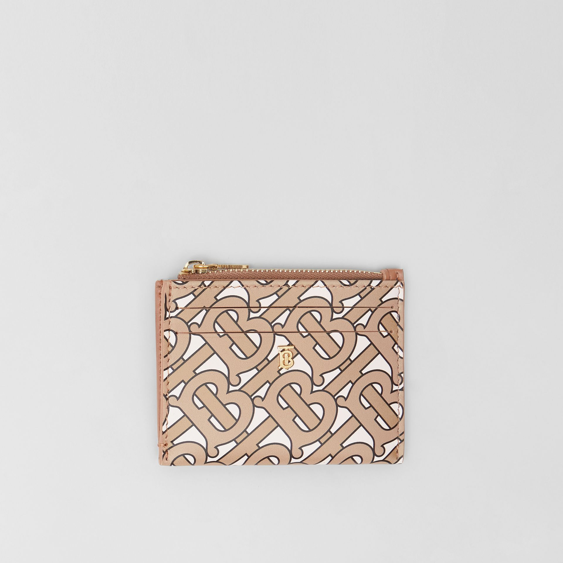 Monogram Print Leather Zip Card Case in Beige - Women | Burberry United States - gallery image 0