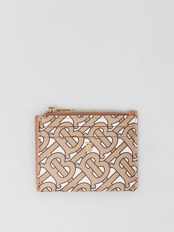 Monogram Print Leather Zip Card Case in Beige