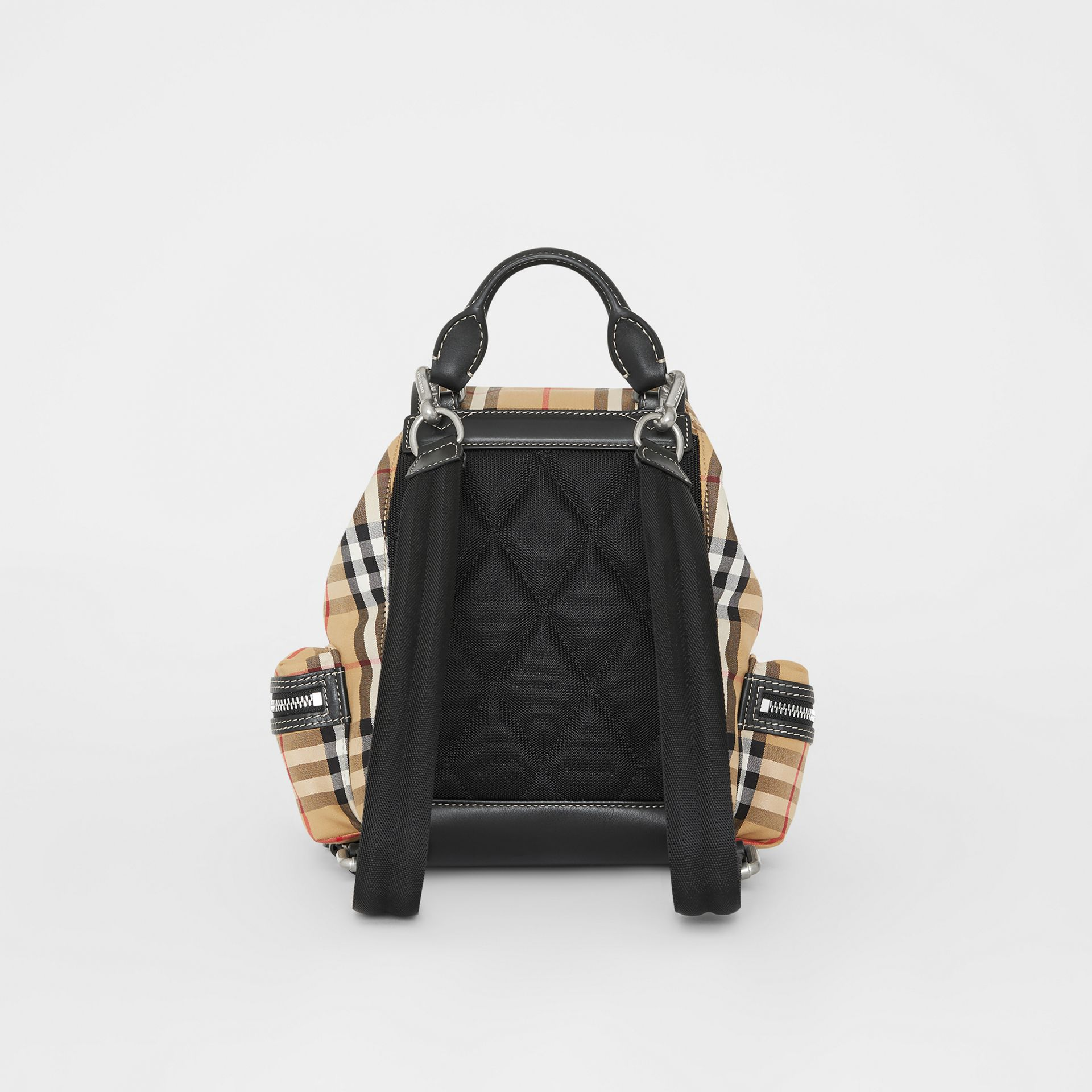 The Small Rucksack in Vintage Check and Leather in Antique Yellow - Women | Burberry - gallery image 8