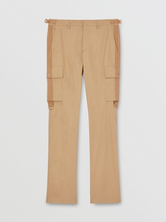 Cotton Twill Cargo Trousers in Pale Coffee