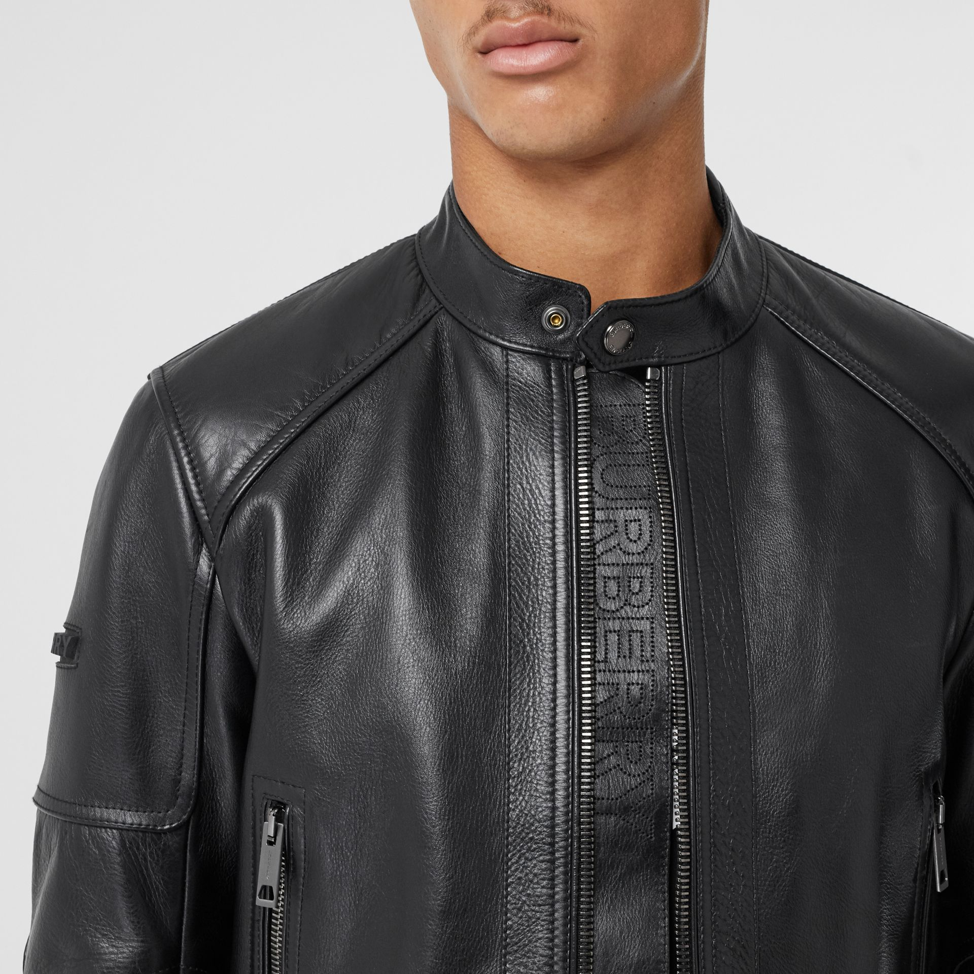 Leather Bomber Jacket in Black - Men | Burberry - gallery image 7