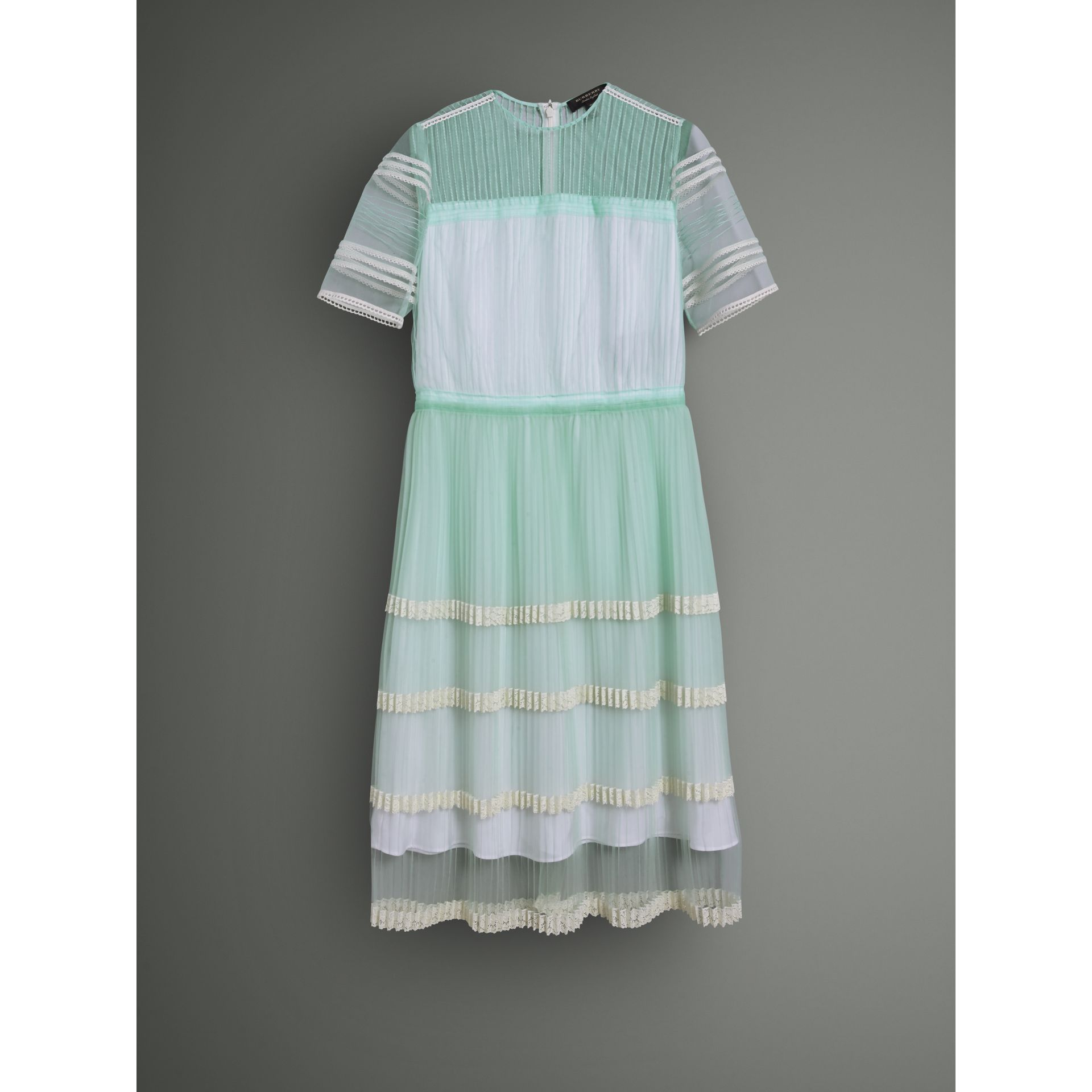English Lace Trim Pleated Tulle Dress in Light Mint - Women | Burberry Canada - gallery image 4