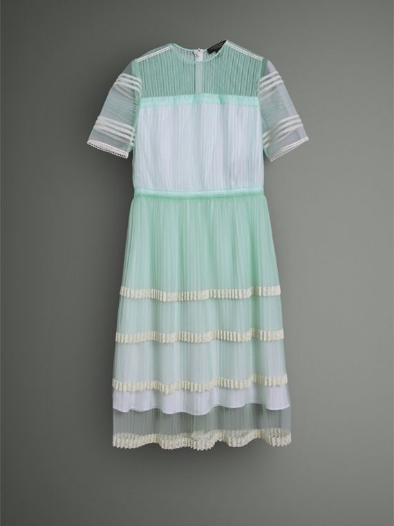 English Lace Trim Pleated Tulle Dress in Light Mint - Women | Burberry - cell image 3