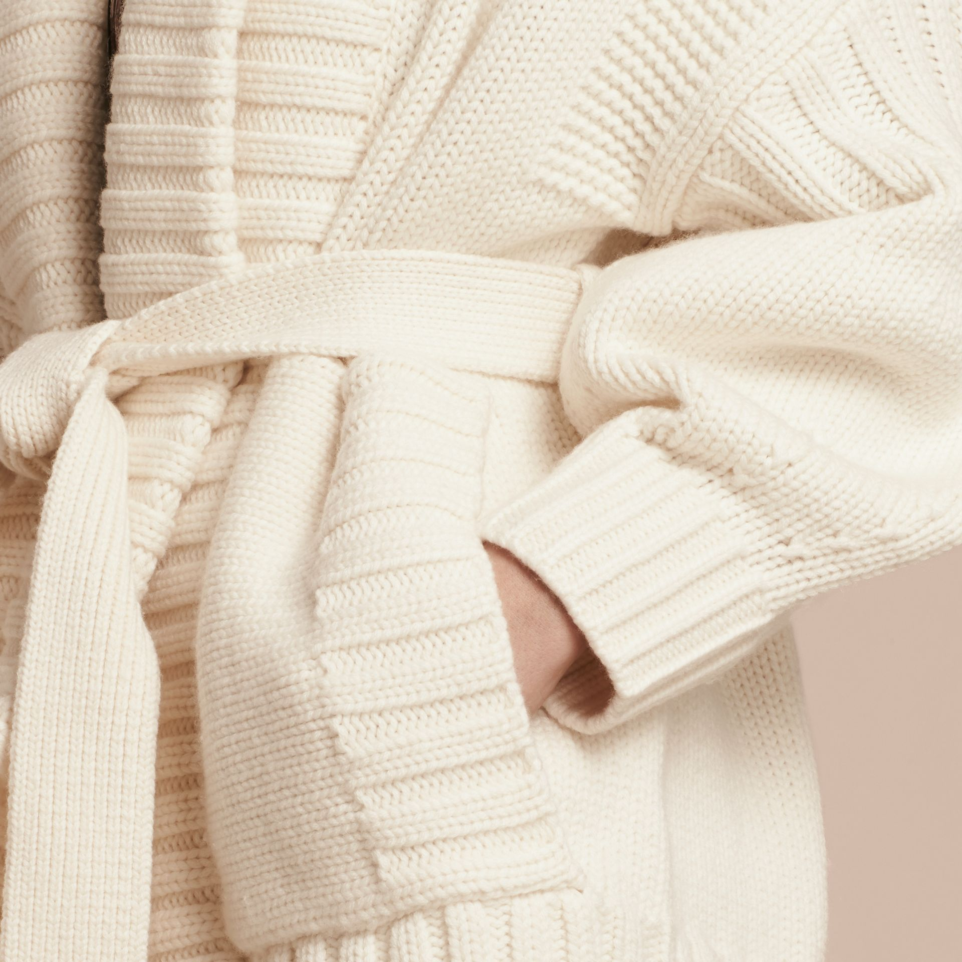 Knitted Wool Cashmere Belted Cardigan Jacket Natural White - gallery image 6
