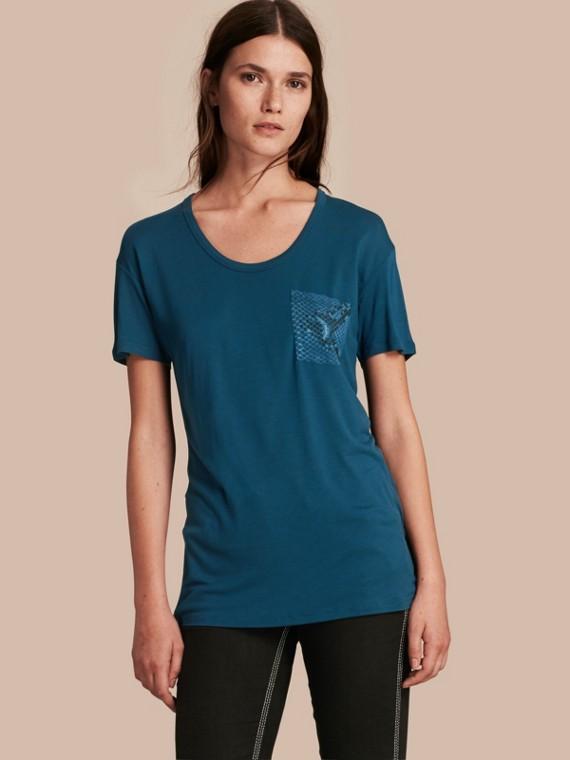蟒紋細節設計 T 恤 礦藍色