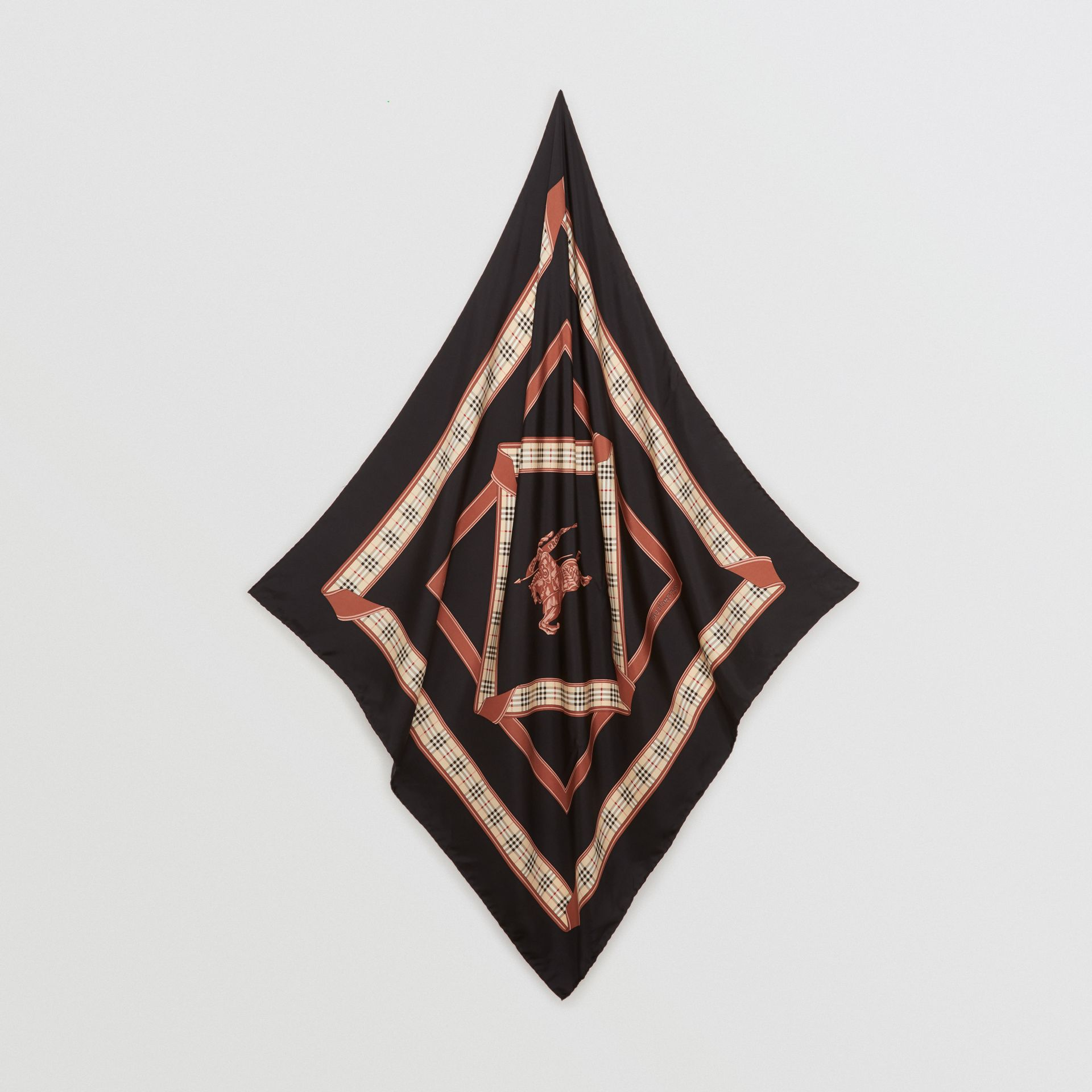 Archive Scarf Print Silk Square Scarf in Black | Burberry Canada - gallery image 3