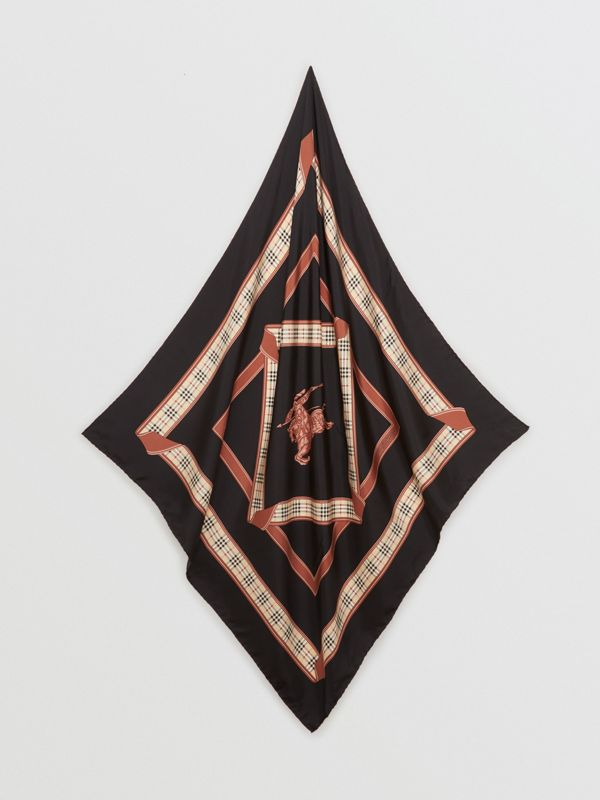 Archive Scarf Print Silk Square Scarf in Black | Burberry - cell image 3