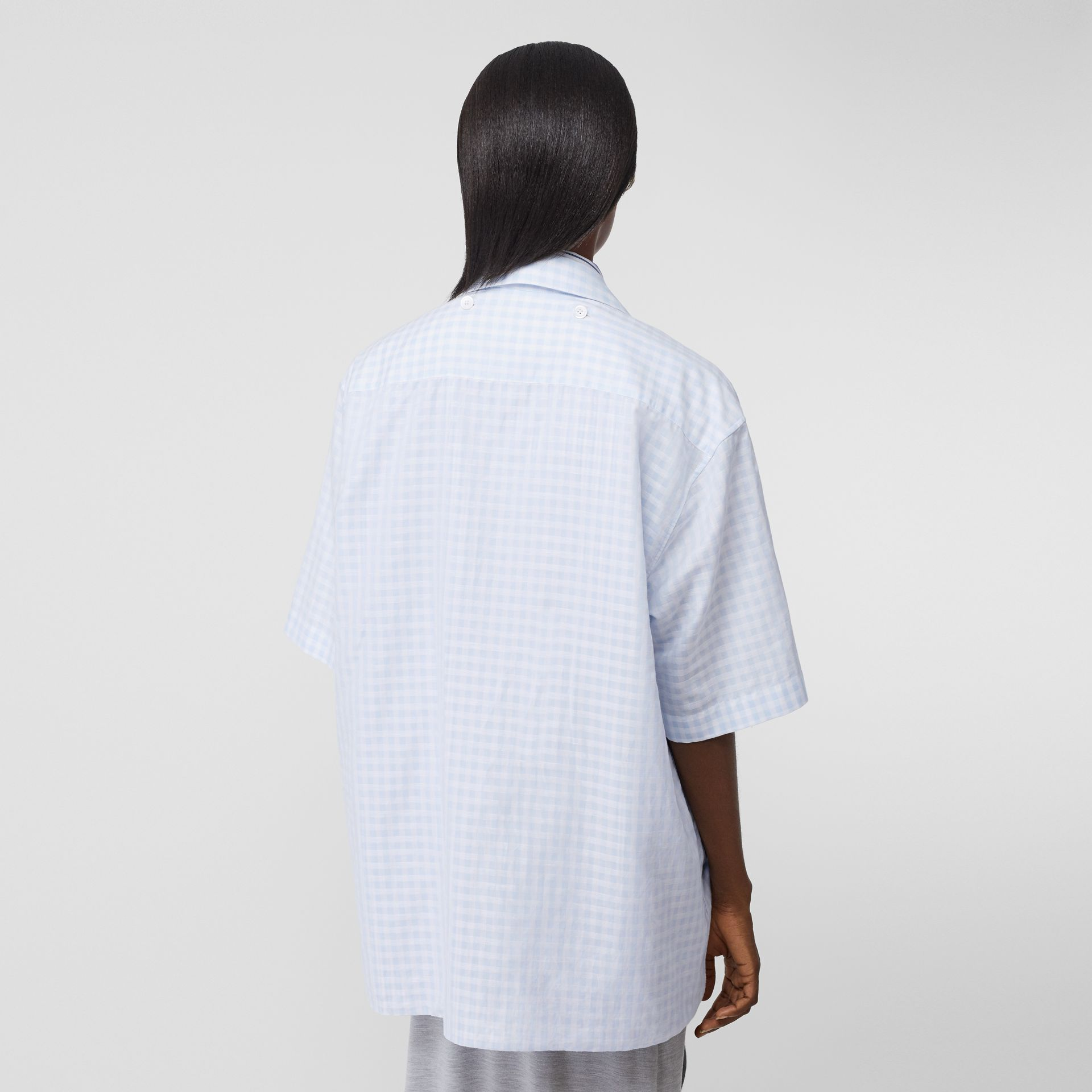 Striped and Gingham Oversized Double Shirt in Pale Blue - Women | Burberry United Kingdom - gallery image 2