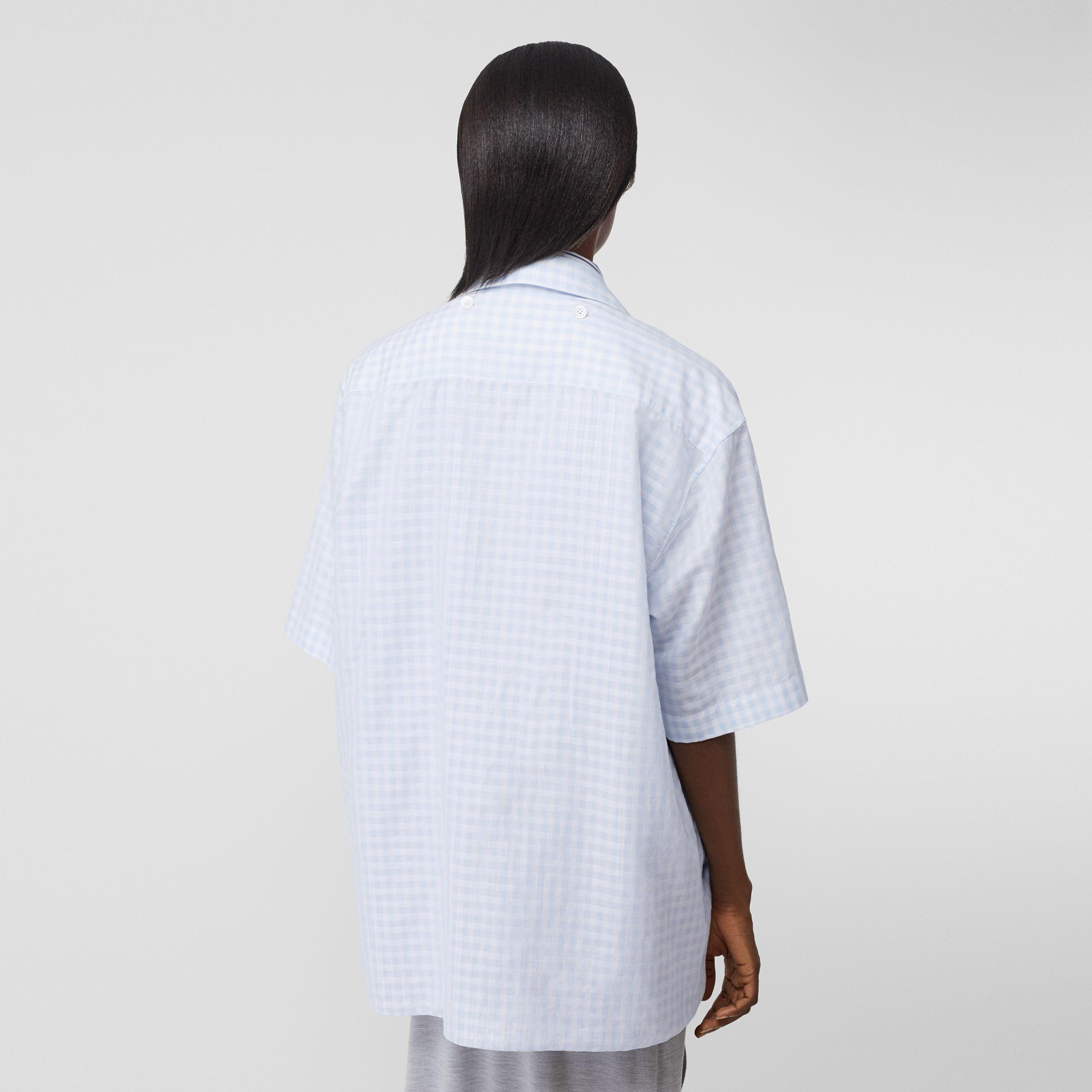 Striped and Gingham Oversized Double Shirt in Pale Blue - Women | Burberry - 3