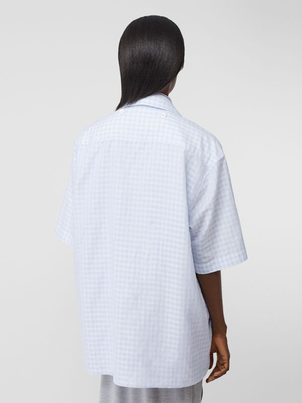 Striped and Gingham Oversized Double Shirt in Pale Blue - Women | Burberry United Kingdom - cell image 2