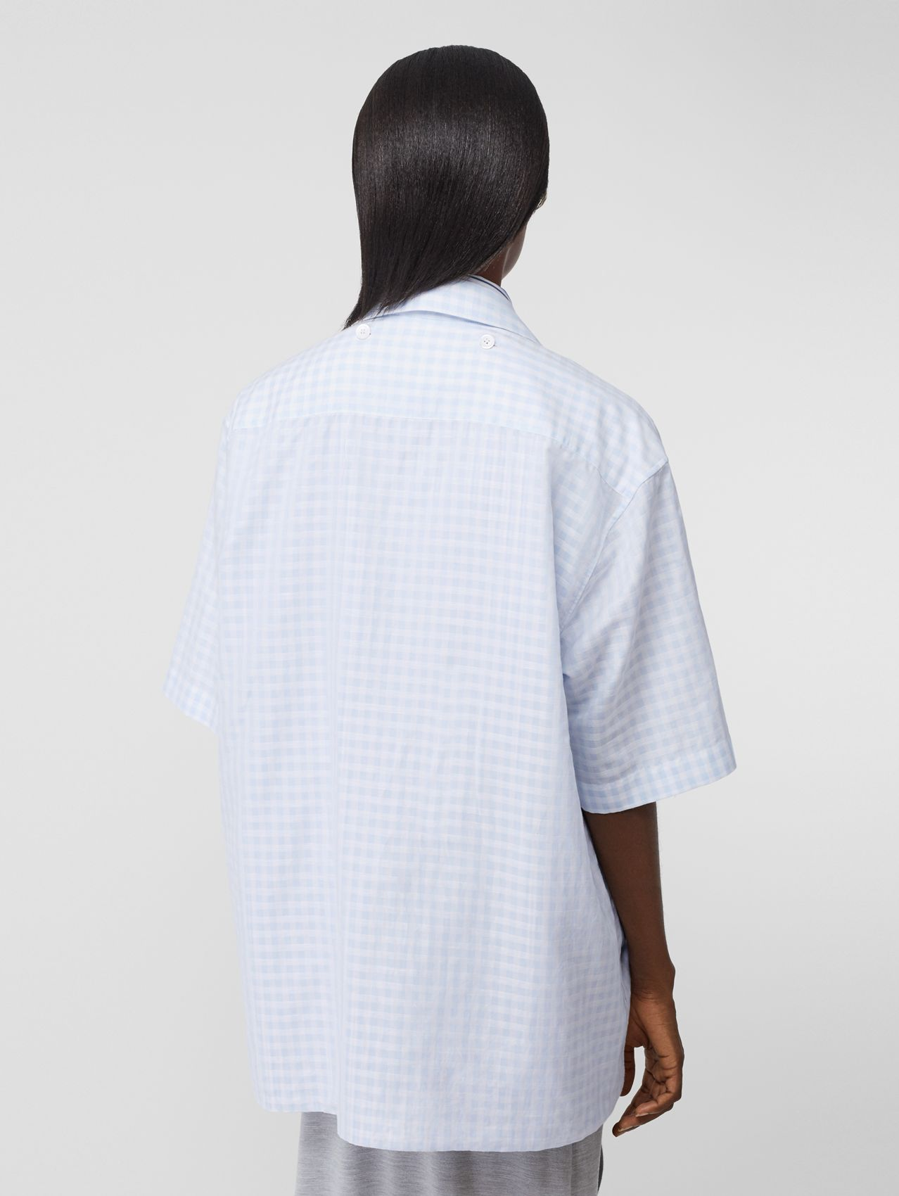 Striped and Gingham Oversized Double Shirt in Pale Blue