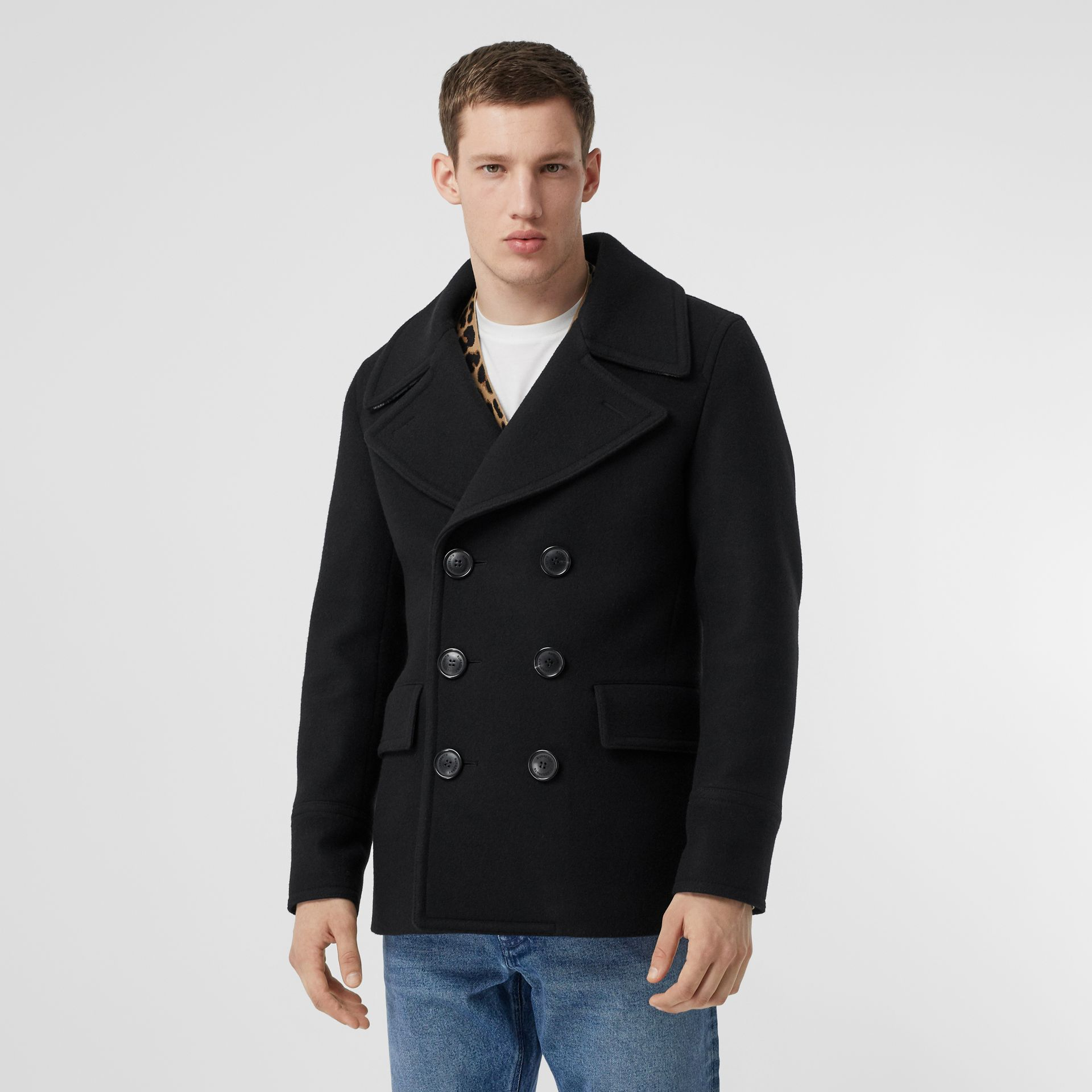 Wool Blend Pea Coat in Black - Men | Burberry Canada - gallery image 5