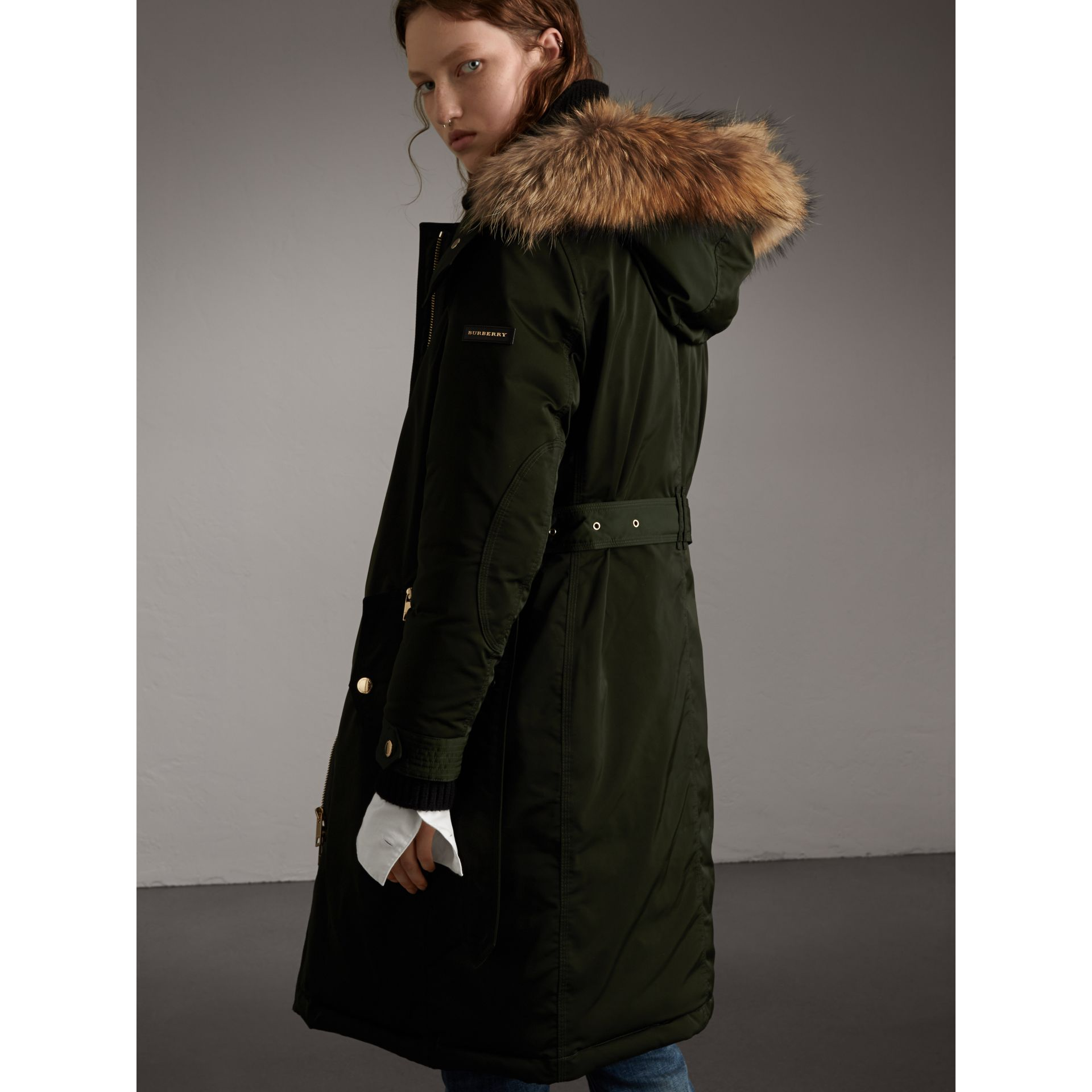 Down-filled Parka Coat with Detachable Fur Trim in Dark Cedar Green - Women | Burberry United States - gallery image 3