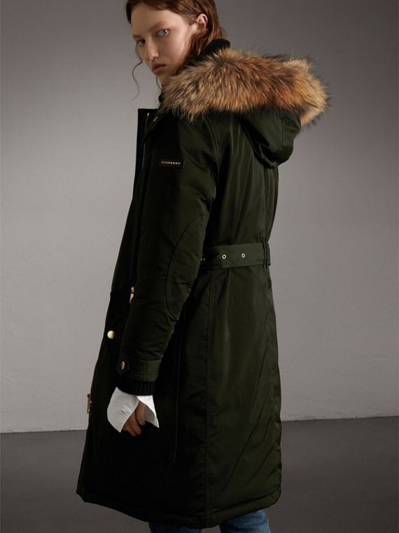 Down-filled Parka Coat with Detachable Fur Trim in Dark Cedar Green - Women | Burberry - cell image 2