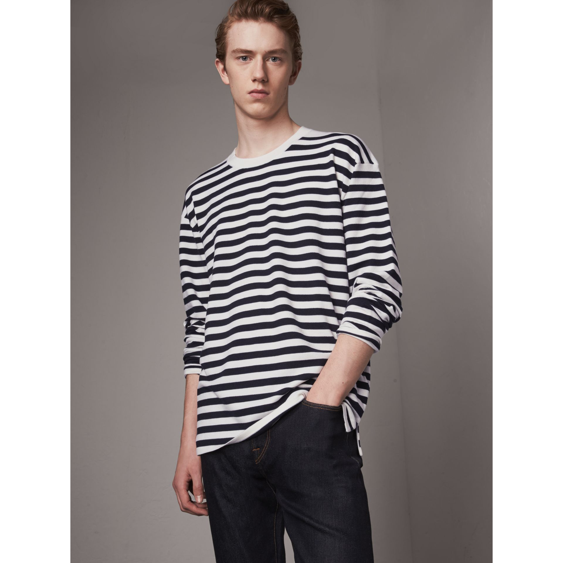 Breton Stripe Merino Wool Silk Blend Top in Navy - Men | Burberry - gallery image 0