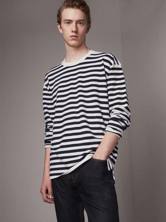 Breton Stripe Merino Wool Silk Blend Top in Navy