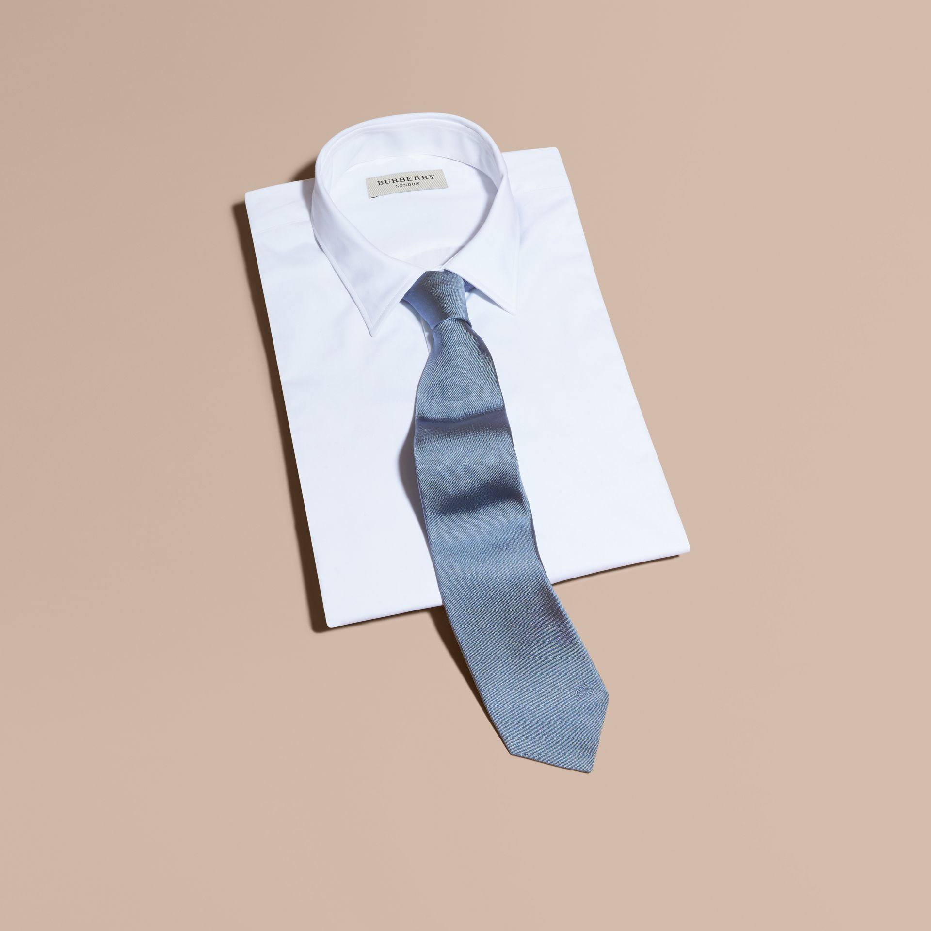 Modern Cut Silk Twill Tie in Sky Blue - Men | Burberry - gallery image 4