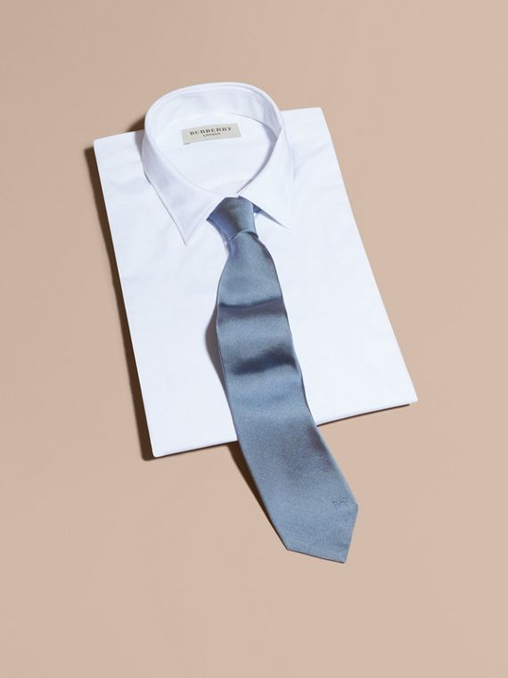 Modern Cut Silk Twill Tie in Sky Blue - Men | Burberry - cell image 3