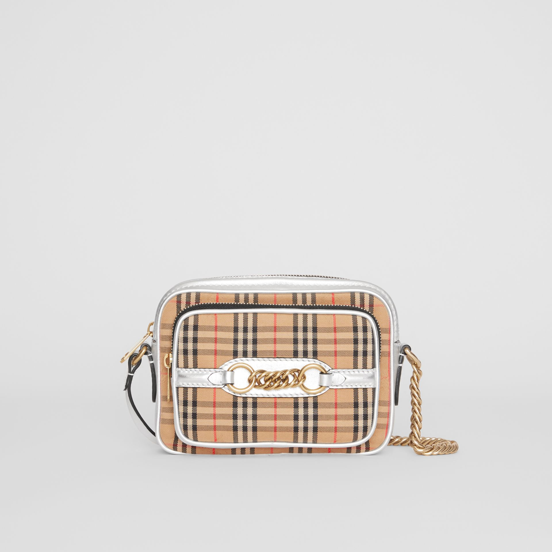 The 1983 Check Link Camera Bag in Silver - Women | Burberry Australia - gallery image 0