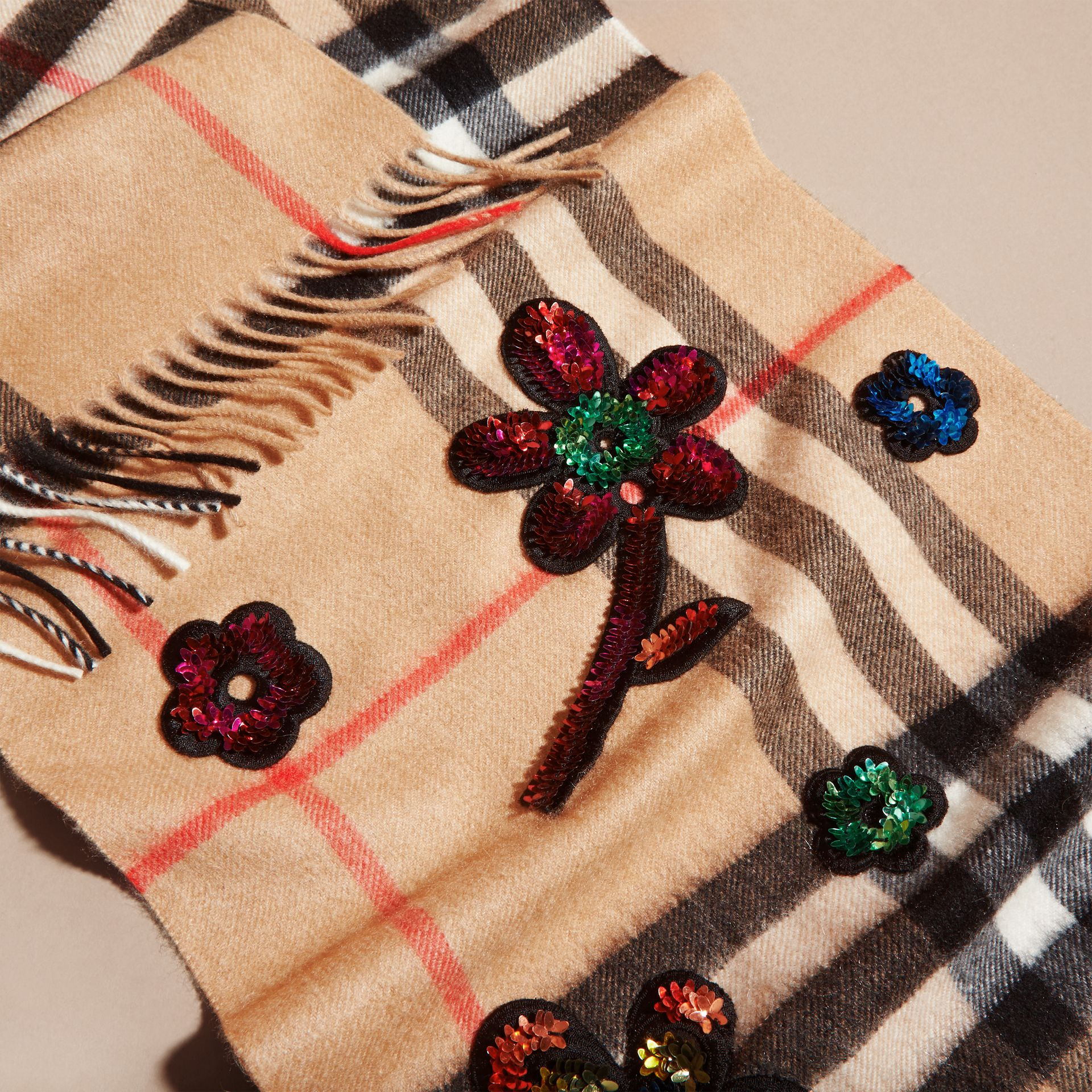 Camel The Classic Cashmere Scarf in Check with Sequinned Flowers - gallery image 5